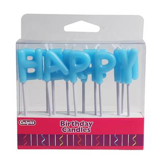 Candle Happy Birthday Letters Blue