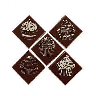 Chocolate Dark Cupcake Square - 25mm (150PK)