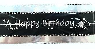 Cake Band Happy Birthday Black/Silver 63mm (7m) - SOLD OUT