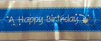 Cake Band Happy Birthday Blue/Silver 63mm (7m) - SOLD OUT