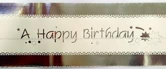 Cake Band Happy Birthday White/Silver 63mm (7m)