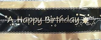 Cake Band Happy Birthday Black/Gold 63mm (1m)