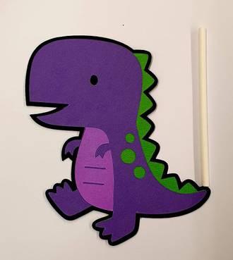 Dinosaur - Purple Cake Topper (Card 100x105mm)