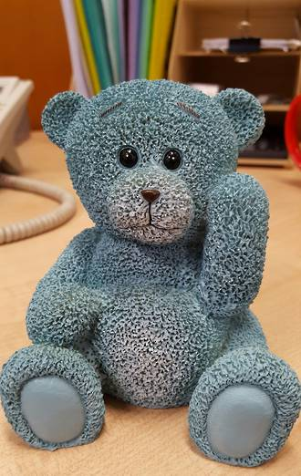 Blue teddy bear, 120mm (Polystone)