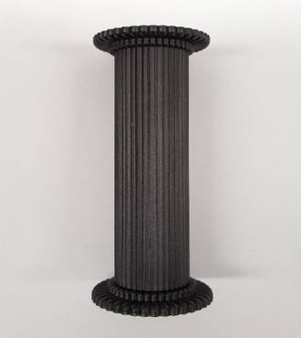 Round Fine Fluted Black (Matt)  Pillar 75mm