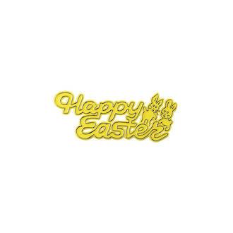 Happy Easter Plastic Motto, 75mm (Yellow)