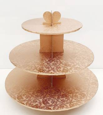 Cupcake Rose Gold Stand, 3 Tier, 36cm base, 33cm high