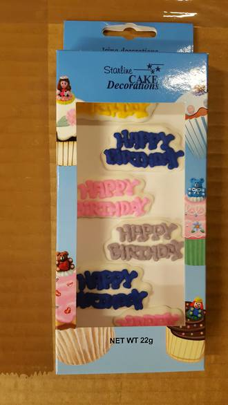 Edible Happy birthday Mottos- Asst'd Box of 6 - DATED STOCK ONLY
