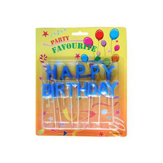 Candle Blue Happy Birthday Pick