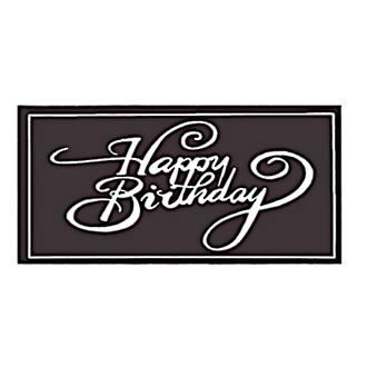 Chocolate Dark Happy Birthday Oblong 100mm x 50mm (18PK)