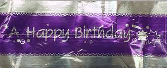 Cake Band Happy Birthday Purple/Silver 63mm (1m)