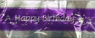 Cake Band Happy Birthday Purple/Silver 63mm (1m)