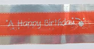 Cake Band Happy Birthday Red/Silver 63mm (7m)