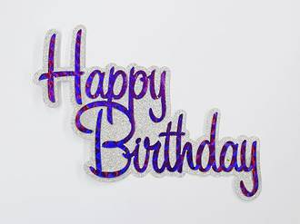 """Happy Birthday"" Glitter Silver & Purple Cake Topper (Card 130x110mm)"