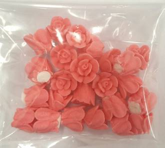 Icing Salmon Roses 10mm, packet of 24 - DELETE WHEN SOLD