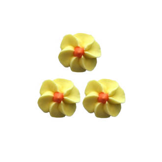 Icing Yellow Drop Flowers 18mm (Packet of 50)