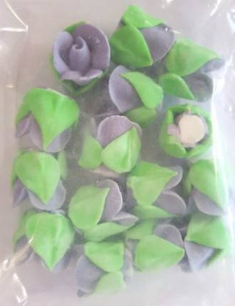 Icing Plum Frost Roses Buds 15mm, Pkt 15 - DELETE WHEN SOLD