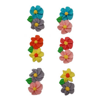 Icing Spring Flowers, 20mm - Packet of 6.  Asst colours