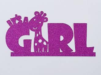 """It's a Girl"" Glitter Hot Pink Cake Topper (Card 130x55mm)"