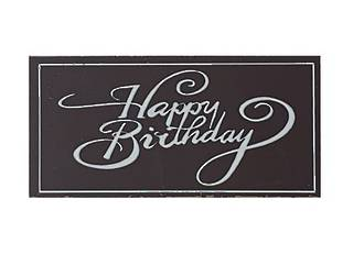 Chocolate Dark Happy Birthday Oblong 100mm x 50mm (18PK)