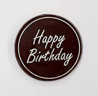 "Chocolate Dark - ""Happy Birthday"" Round 75mm (50PK)"