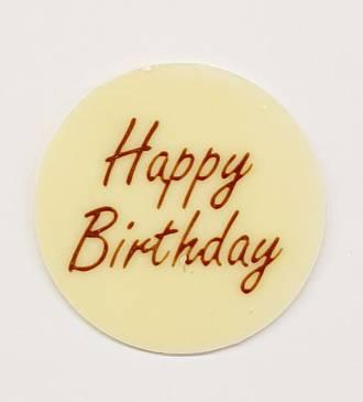 """Chocolate White - """"Happy Birthday"""" Round 50mm (66PK)"""
