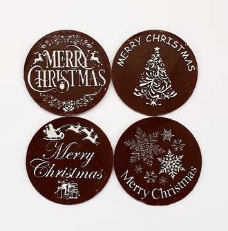 "Chocolate Dark ""Christmas Assorted"" Round 50mm (32PK)"