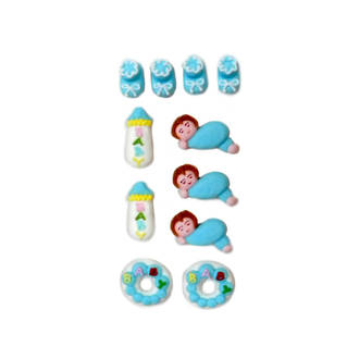 Baby Boy Collection, 2D Assorted Icing Items (Retail Box 11)