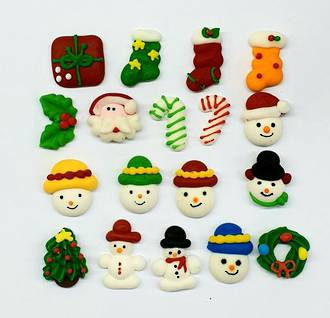 Mini Christmas Assorted Icing Designs, 10-15mm (270 Pces)