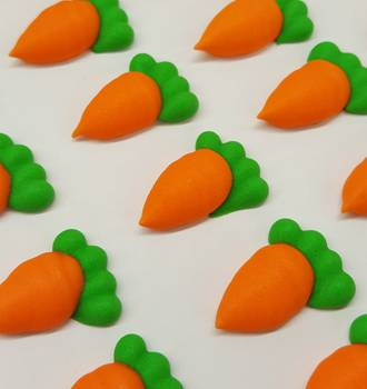 Carrots, 2D Icing, Small, 25mm - Box of 84