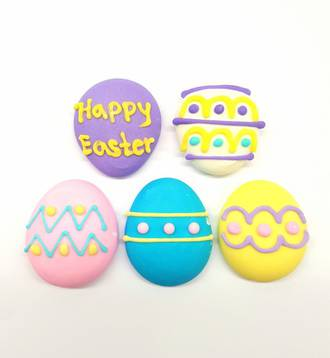 Easter Eggs Assorted, 2D Icing,  27mm  (Box of 50)