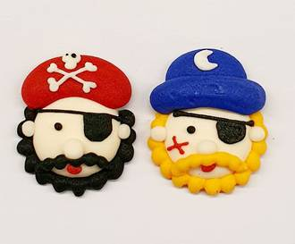 Icing Pirate Faces (Assorted Box of Red/Blue Head Scarf) Box of 40, 30mm