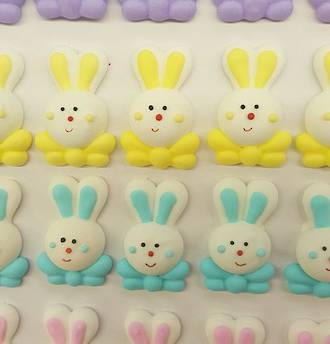 Easter Rabbit With Bowtie, 38mm 2D Icing (Box of 40)