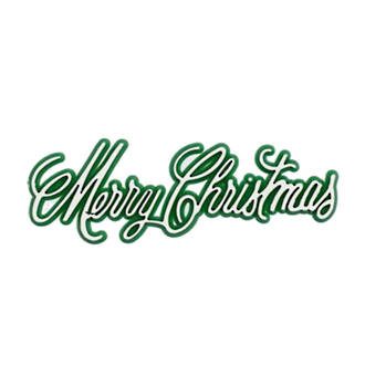 Merry Christmas Plaque 100 x 30mm, Green