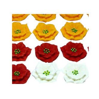 Poinsettia Flowers, 30mm, Red ,White & Yellow, 2D Icing (Wholesale Box of 40)