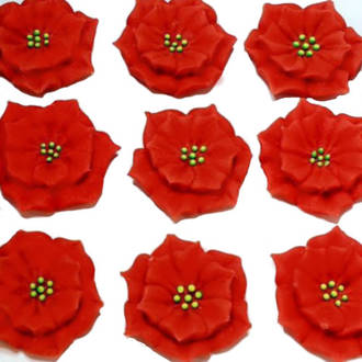 Poinsettia Flowers, 30mm, Red , 2D Icing (Wholesale Box of 40)