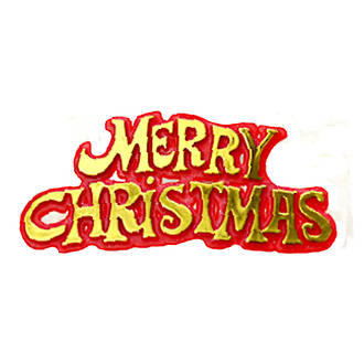 Merry Christmas Motto  Red/Gold, 76mm