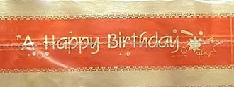 Cake Band Happy Birthday Red/Gold 63mm (1m)