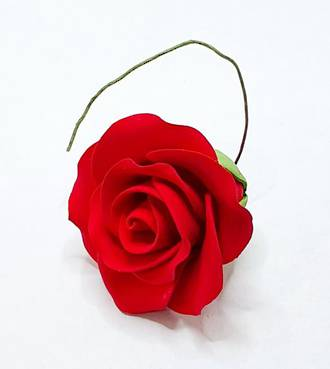 Icing Red Single Rose, 50mm.  Box of 28 (wired)