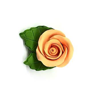 Icing Peach Roses With Leaves 40mm.  Box of 144