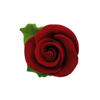 Icing Red Roses With Leaves 40mm.  Box of 144