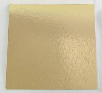 "125mm or 5"" 2mm Square Cake Card, Gold"