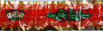 Green Holly/Lantern, Gold Band (7 Metre Roll, 76mm width)