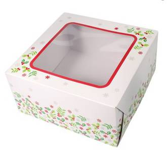 "Christmas Cake Box (Window - 6"" x 6"" x 4"")"