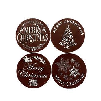 """Chocolate Dark """"Christmas Assorted"""" Round 50mm (32PK)"""