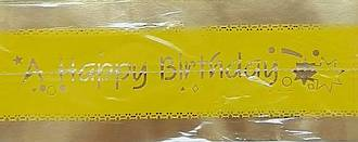 Cake Band Happy Birthday Yellow/Gold 63mm (7m)