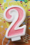 Candle Glitter Pink Number #2 (80mm)