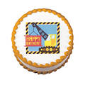 Under Construction Edible Icing Image round 16cm