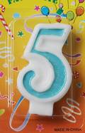 Candle Glitter Blue Number #5 (80mm)