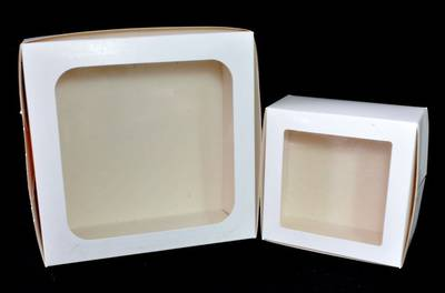 Cake Boxes 9 x 9 x 4 inch with window,  229 x 229 x 102mm, Bundles of 100